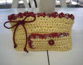Credit card holder and plastic white/Heather Burgundy bus ticket, crocheted bags