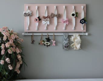 Hair Bow Holder Hair Bow Organizer Headband Holder Pink Headband Organizer Large Distressed Farmhouse Girl Nursery Decor Girl Shower Gift