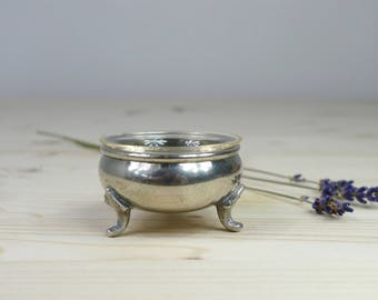 Vintage box, Silver salt cellar, Vintage jewellery box, Silver ring holder, Small glass salt cellar, Vintage gift, Small classic gift