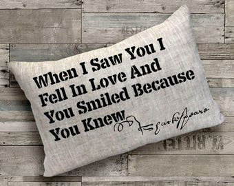 """Shakespeare """"When I Saw You I Fell In Love"""" Quote Pillow - Home Decor, Pillow Cover, Gift for Her, Gift for Mom, Throw Pillow, Cushion Cover"""