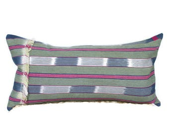 12X24 Mudcloth Pillow Cover, Pink Blue Green Pillow, Fringe Mudcloth Pillow, African Mudcloth, Modern Farmhouse Pillow, Stripe Pillow