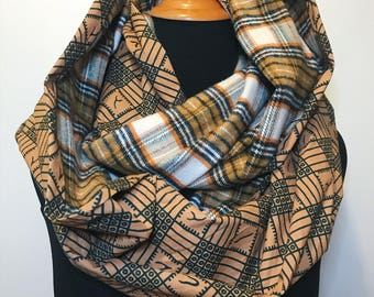 African Print and Plaid Infinity Scarf // Tan and Hunter Green Circle Scarf // Green and Brown Plaid // African Wax Print Scarf