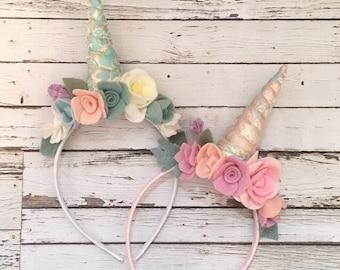 Unicorn Headband, Unicorn Crown, Unicorn Head Piece,  Floral Unicorn Headband, Unicorn Floral Crown, Unicorn Ears, Unicorn Birthday,