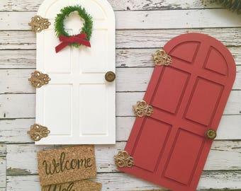 Christmas Elf Door, Fairy Door ,elf door, Christmas Door, Tooth Fairy Door, Fairy Garden Door, Miniature Door, Elf Accessories, elf shelf