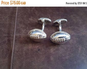 ON SALE Vintage Sterling Silver Football Cufflinks