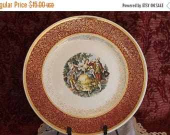 SALE Royal China Co. Dinner Plate - Cranberry Red, Gold, George & Martha