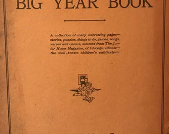 1929 Children's Big Yearbook Whitman Publishing Junior Home Magazine coloring activity vintage