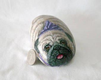 Pug rock,pug stone,painted rock,pug painting,pug lover,dog rock,puggle art,dog hanky,fawn colored pug,garden decor,dog lover,dog rock art