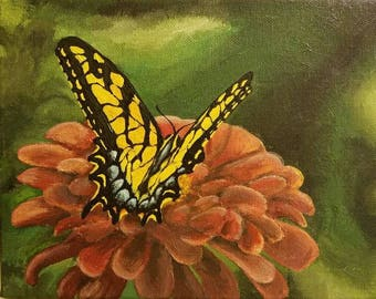 Butterfly and Flower on Canvas