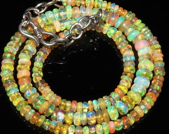 """43 Ctw 1Necklace 3to6 mm 15"""" Beads Natural Genuine Ethiopian Welo Fire Opal ET144"""
