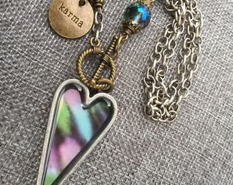 Good Karma Vintage Tie dye Heart Necklace