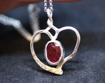 Natural Red Ruby Heart Pendant Sterling Silver , July Birthstone , 40th Anniversary , Wedding , Bridal , Bezel Set , From Canada