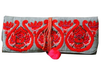 Wedding Handbag Indian Jewelry Storage Purse Antique Embroidered Clutch Bridal Ring Holder Cotton Fabric Roll Jewellery Traditional Purse