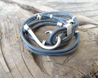 EXPRESS SHIPPING,Womens Wrap Leather Bracelet,Grey Blue Leather Bracelet,Fishing Hook Bracelet,Bangle Bracelet,Gifts for Her,Christmas Gifts