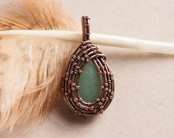 Aventurine pendant - Gemstone necklace - Crystals jewelries - Wirewrapping - Gift mother - Valentines day gift