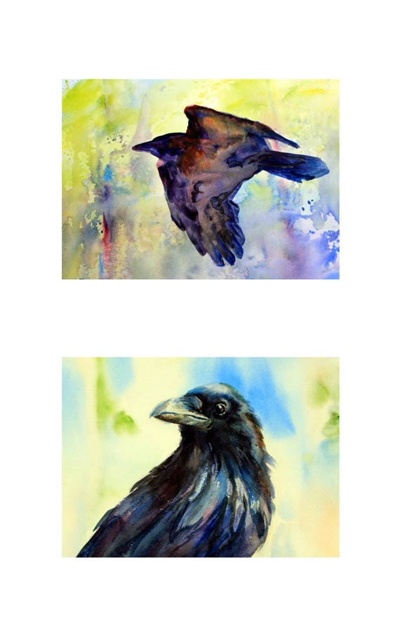10x16 - 2 Raven matted signed prints by Bonnie White