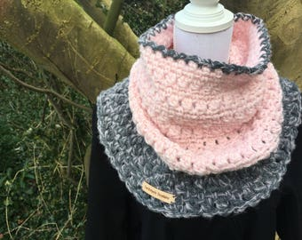 Super soft, warm soft pink & grey Cowl / neck warmer