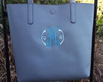Monogram Embroidered Tote bag, Embroidered Purse, Custom Tote Bag, Custom Purse, Monogram Purse, Initial Purse, Monogram Tote by Sew4MyLoves