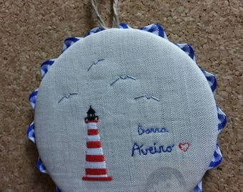 "Mini embroidered Panel ""Lighthouse in Aveiro - Barra"""