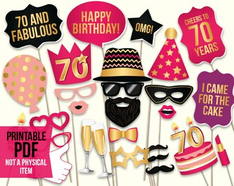70th birthday photo booth props: printable PDF. Hot pink and gold. Seventieth Bday props. Birthday party ideas for women. Digital download