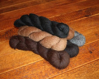 100% Suri Alpaca Yarn, Natural, Light DK