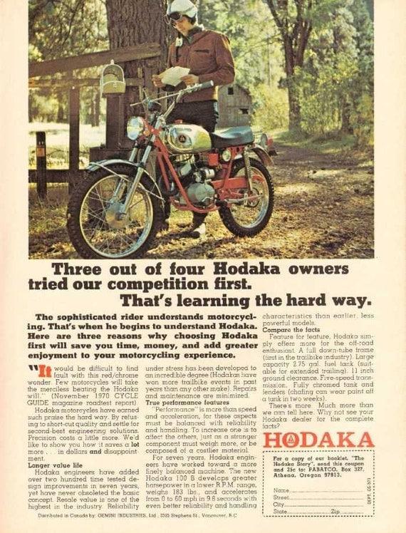 1971 Hodaka 100 B Red Chrome Trailbike Motorcycle Ad #nby01