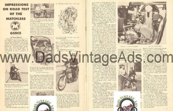 1962 Matchless G50CS Road Test Impression 2-Page Article #e62da19