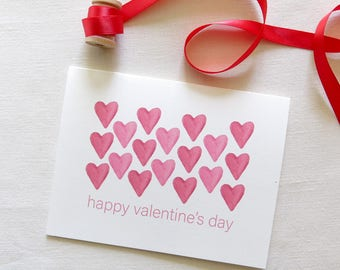 Happy Valentines Day Greeting Card - Red Watercolor Hearts