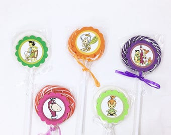 The Flintstones Bam Bam Pebbles Cavemen | Lollipops Set of 10 , Dessert Table, Candy Favors, Swirl Lollipops, Fruity, Candy Bar