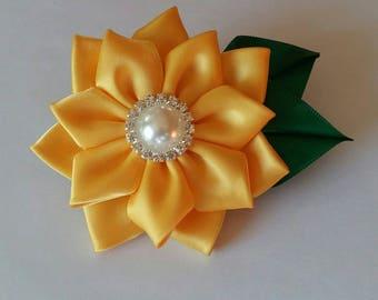 Kanzashi flower fabric hair clip, girls  sunflower hair clip, ladies hairclip