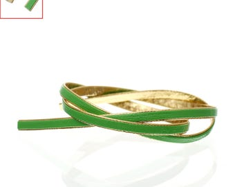 Cord flat bicolor/Green Gold leatherette with 4mm wide - sold by the yard