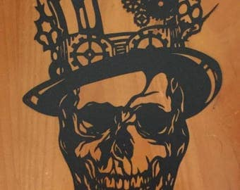 Steampunk sugarskull, papercut,sugar skulls, home decor, top hat, Day of the dead, Halloween,
