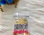 Birthday Queen Stemless Glitter Dipped Wine Glass Set (2)