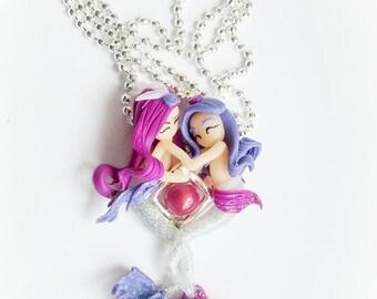 Mermaid tones necklace white, raspberry and plum