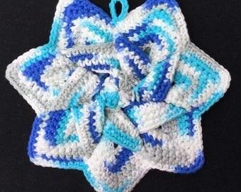 Crochet Star Flower Pot Holder, Handmade Flower Trivet, Star Flower Hot Pad, Housewarming, Kitchen gift, Blue, White, Gray,  FREE SHIPPING