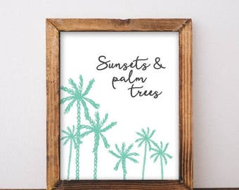 ON SALE Sunsets And Palm Trees - Surf Decor - Palm Tree Print - Surf Art - Boho Beach Decor - Surf Print - Printable Art - Digital Download