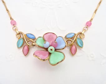 Vtg Unsigned Trifari Necklace Pink Blue Green Poured Glass Gripoix Flower Bead Pendent