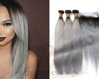 Grey hair extensions etsy 3 bundles lace frontal deals 8a straight 100 virgin human pmusecretfo Images