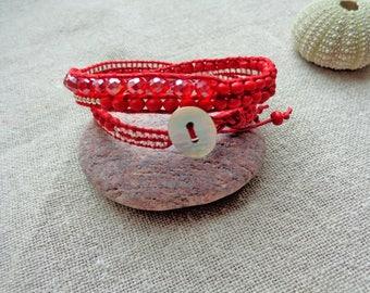 Bracelet red bracelet wrap bracelet 2 turns bracelet red beads