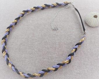 Large adjustable headband purple black gold - ninette barrettes