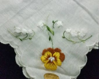 Vintage Embroidered Pansy and Lily of the Valley Hankerchief Switzerland Tag. Floral Handkerchief. Lady's Hanky with Embroidered  Pansy.