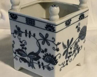 Vintage Vienna Woods Blue Onion Pattern Square Planter