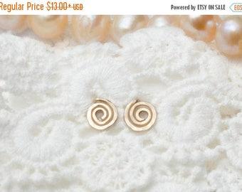 SALE - Gold Spiral Earrings - Gold Swirl stud earrinfgs - Spiral Stud Earrings - Birthday gift