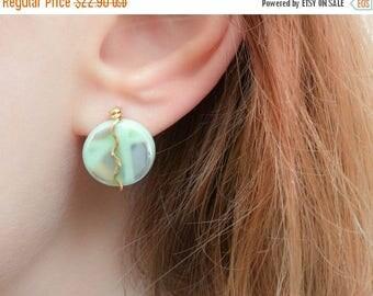 SALE - Mint Earrings-Mint Stud Earrings-Large Stud Earrings-Green Earrings-Sea Green Earrings-Sea Green Studs-Gold Stud Earrings-Mint to be