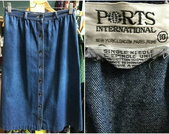 Vintage 1980s Ports International Denim Button Front Skirt with Pockets - Size 10