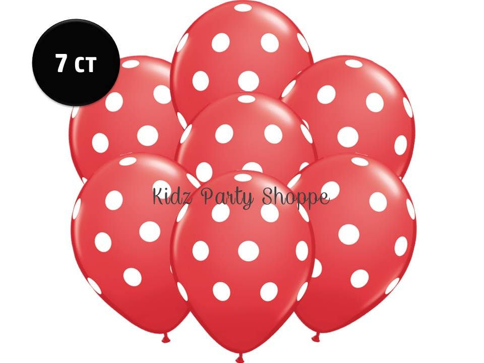 Red white polka dot balloons 7ct 11 latex minnie for Red and white polka dot decorations