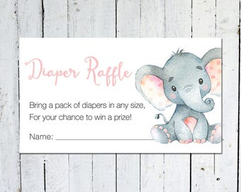 Diaper Raffle Ticket, Baby Shower, Elephant, Pink and Gray, Diaper Raffle Insert, Confetti, Printable, Instant Download