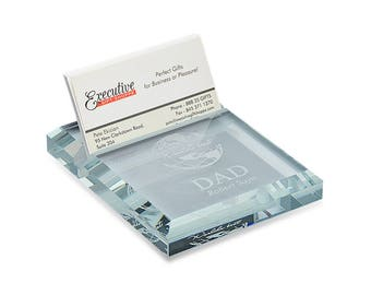 World's Best Dad Crystal Business Card Holder & Paperweight - Glass Paperweight Card Holder for Dad - Executive Glass Desk Paperweight