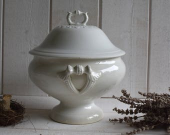 Oops..!! RESERVED for Yvonne!  Antique 1900s French Tureen White Ironstone  bowl vase FRANCE