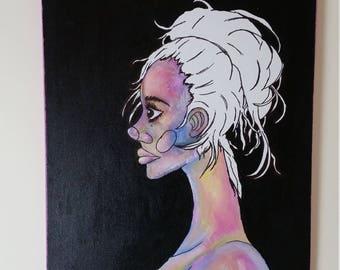 Original art, original painting, pink and black, pink and black painting, acrylic painting, portrait painting, fantasy painting, canvas art